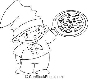 Pequeña cocinera con pizza esbozada