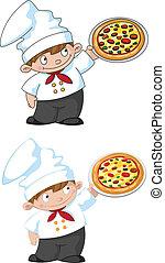 Pequeña cocinera con pizza