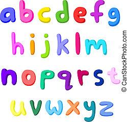 Pequeñas letras coloridas