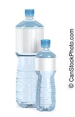 Pequeñas y grandes botellas de agua en blanco