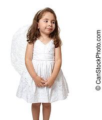 Pequeño ángel blanco mirando de lado