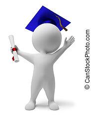 pequeño, 3d, -, diploma, gente