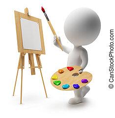 pequeño, 3d, -, pintor, gente