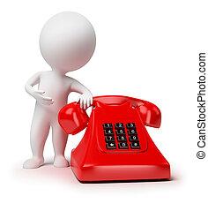 pequeño, 3d, -, teléfono, gente