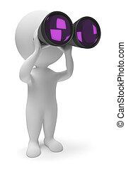 pequeño, binoculares, 3d, -, gente