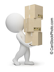 pequeño, cajas, 3d, -, gente
