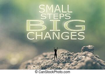 pequeño, cambios, pasos, grande
