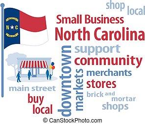 pequeño, carolina, bandera, norte, empresa / negocio