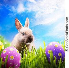 Pequeño conejo de Pascua y huevos de Pascua sobre hierba verde