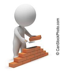 pequeño, constructor, 3d, -, gente