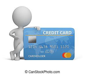pequeño, credito, 3d, tarjeta, gente