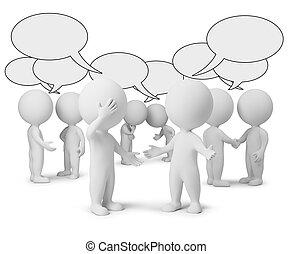 pequeño, discusión, 3d, -, gente