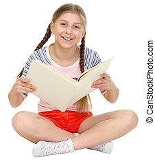pequeño, feliz, niña, libro, manos