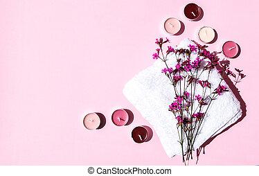 pequeño, flores, velas, tratamiento, concepto, plano de fondo, espacio, toalla, blanco, algodón, aroma, rosa, balneario, copia