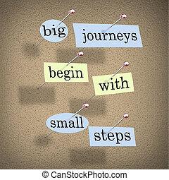 pequeño, grande, comenzar, pasos, viajes