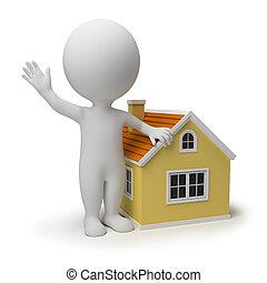 pequeño, hogar, 3d, -, gente