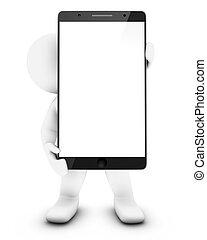 Pequeño hombre 3D con smartphone
