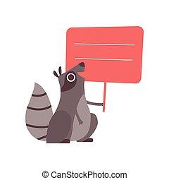 Pequeño mapache sosteniendo estandarte rojo vacío, lindo animal de dibujos animados con una ilustración de vectores en blanco