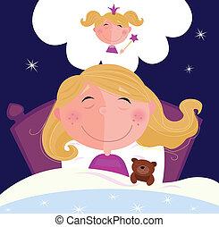 pequeño, niña, soñar, sueño