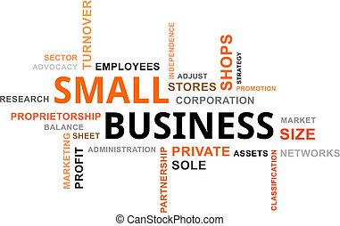 pequeño, palabra, -, nube, empresa / negocio