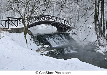 Pequeño puente de madera en invierno