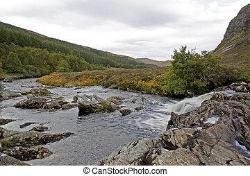 Pequeño río en scottish Highlands