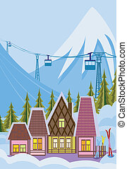 pequeño, recurso, esquí