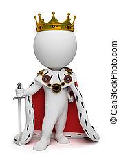 pequeño, rey, 3d, -, gente