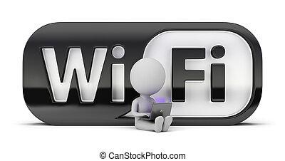 pequeño, wifi, -, 3d, gente