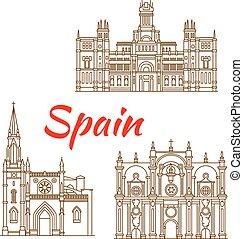 Pequeños iconos de líneas españolas