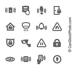 perímetro, seguridad, iconos