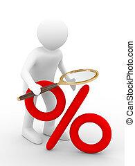 percent., imagen, discounts., aislado, aumento, 3d