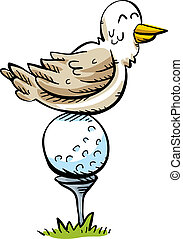 percha, pelota, golf, pájaro