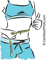 perder, mujer, peso, ilustración