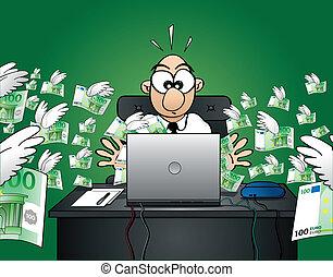 perder, tela, euro, -, dinero