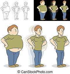 perder, transformación, peso, hombre