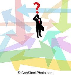 perdido, empresa / negocio, pregunta, decisión, flechas, confuso, hombre