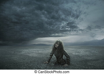 perdido, mujer, día, tempestuoso