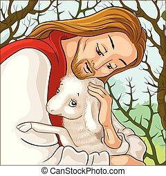perdido, pastor, retrato, parábola, espinas, sheep., historia, rescatar, cordero, christ., jesús, agarrado, bueno