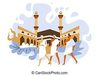 peregrinación, batas, islámico, peregrinos, santo, hajj, mecca