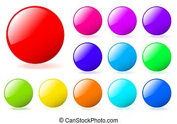 perfecto, añadir, conjunto, gallery., texto, multicolor, esferas, vector, icons., más, mi, shadow., brillante