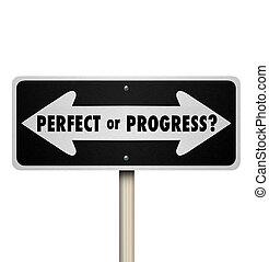 perfecto, adelante, señalar flecha, señales, progreso, o, camino