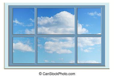 perfecto, azul, ventana, cielo, por