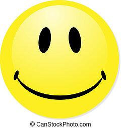 perfecto, badge., smiley, amarillo, botón, vector, icono, mezcla, shadow., emoticon.