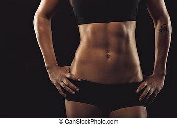 perfecto, músculos, abdomen, hembra