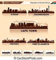 perfil de ciudad, conjunto, áfrica, sur