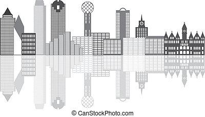 perfil de ciudad, grayscale, ilustración, dallas
