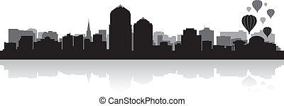 perfil de ciudad, silueta, albuquerque