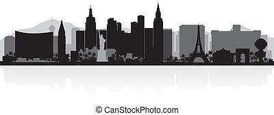 perfil de ciudad, vegas, silueta, las