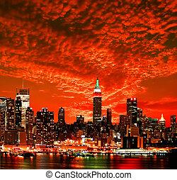 perfil de ciudad, york, nuevo, centro de la ciudad